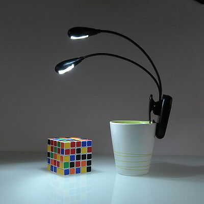 Flexible 2 Dual Arm Clip On LED Light Lamp Book Reading Tablet Laptop PC UF 02 W