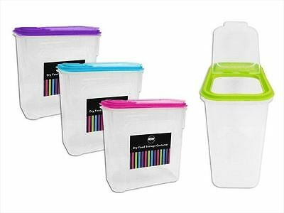4 X Cereal Rice Pasta Dry Food Dispenser Store Storage Box Container Lid Kitchen