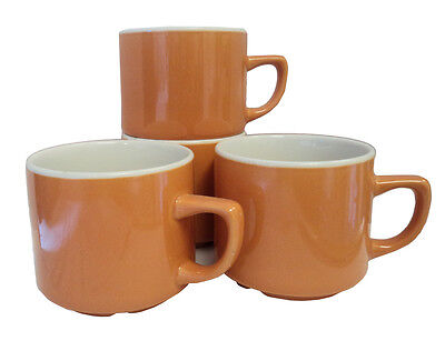 Job Lot Churchill Maple 7oz Orange Tea Cup Sets Stackable Catering Stacking Cups
