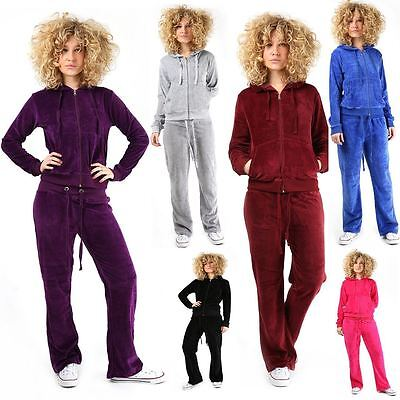 New Women's Ladies Velour Jogging Bottoms Hooded Sweatshirt Track Suit UK 6-24