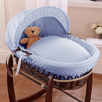 New Clair De Lune Blue Dimple Padded Dark Wicker Baby Moses Basket & Mattress