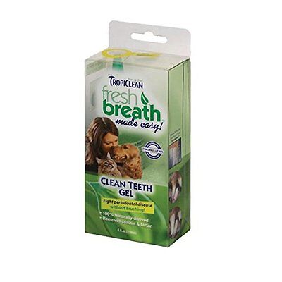 TropiClean Fresh Breath Plaque Remover Pet Clean Teeth Gel Kit Cats Dogs 2z