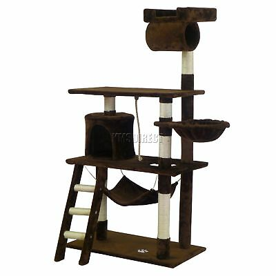 FoxHunter Kitten Cat Tree Scratching Post Sisal Toy Activity Centre Brown CAT064