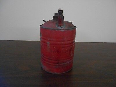 Antique Vintage Deluxe Metal One Gallon Gas Can With Old Red Paint