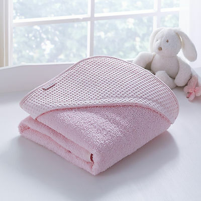 New Clair De Lune Pink Waffle Baby Soft Girls Hooded Bath Time Towel