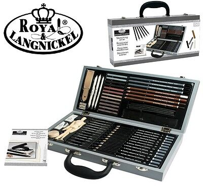Royal & Langnickel Sketch Sketching Art Artists Wooden Chest Case Set 58 Pieces