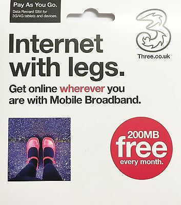 Internet with legs Three (3) Pay As You Go Mobile Broadband Data SIM Card- 200MB