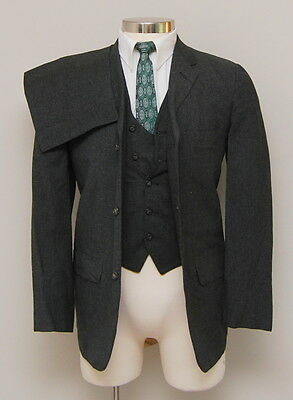 Vintage 1950-60s Mens 38R Madisonaire 3 Piece Grey/Black Check Wool Suit