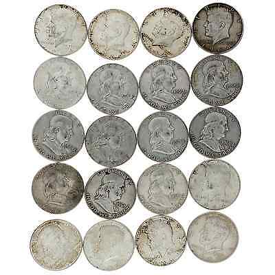 Roll of Circulated/AU Silver Franklin and 64' Kennedy Half Dollars 90%- $10 Face