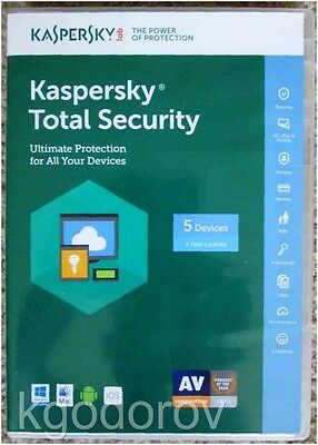 Kaspersky Total Security 2017 (5 Device-1 Year) - Brand New - Free Shipping