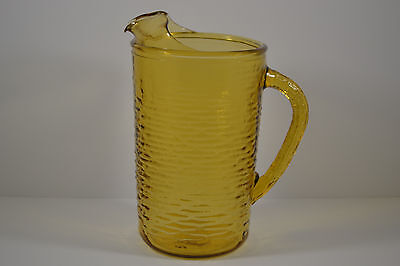 1960's Pitcher Yellow Tall Glass Ice Lip Tea Water Pitcher 60's-70's