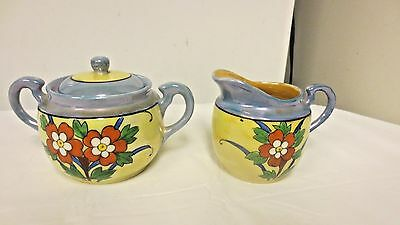 Older Hand Painted Made in Japan Marked Cream & Sugar Bowl/Lid-Lustre-Floral