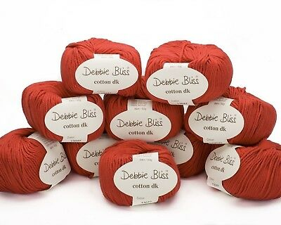 10 x 50g. Red Debbie Bliss Cotton DK Shade 13047