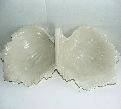 """Lenox """"MADE IN U.S.A"""" Ivory Cream Color Decorative Double Leaf Bowl / Candy dish"""