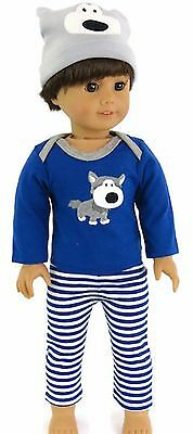 """Cute Doggy 3 piece Pajamas Boy fits 18"""" American Girl Doll Clothes"""