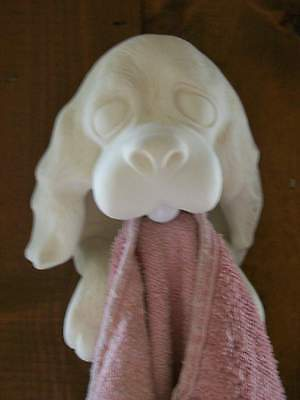 C-0142 Ceramic Bisque Ready to Paint Magic Marble Towel Holder Dog Puppy Face