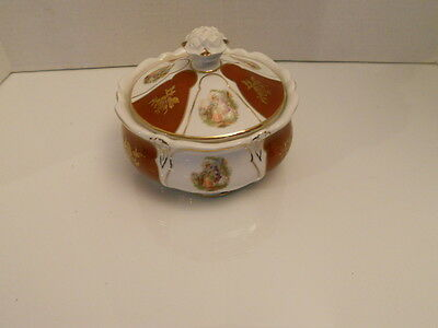 Vintage highly detailed hand painted E & R Ebeling & Reuss Germany covered dish
