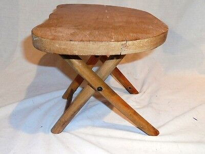 "Old Rustic Wooden Home Decor Nevco ""foldn Carry Stool Patented"" Folding"