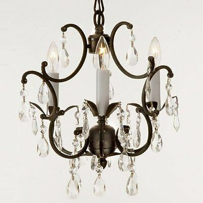 Wrought Iron Crystal Chandelier Lighting Country French , 3 Lights , Free ,