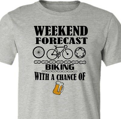 Bicycle T-Shirt-Weekend Forecast-Beer-Road Bike T-shirt-Available in 3 colors
