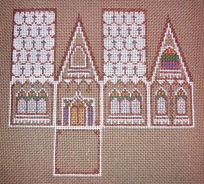 """JG Squiggee """"Xmas House 3D Ornament w/Beads"""" HP Handpainted Needlepoint Canvas"""
