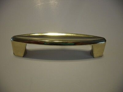 Vintage NOS Polished BRASS Plated Drawer /Cabinet Door Pull Handle Ajax Art Deco