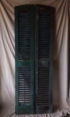 "Pair Vtg Arch Top House Window Wood Louvered Shutters Shabby 72"" X 13"" 292-16"