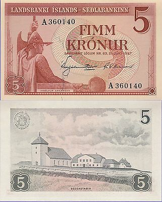 Iceland 5 Kronur Banknote,21.6.1957 Uncirculated Condition Cat#37-A-0140