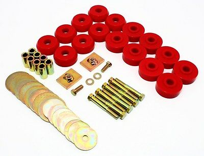 1959-1964 Chevy Impala Bel Air Hard Top Body Mounts Kit Red Poly Prothane 7-144