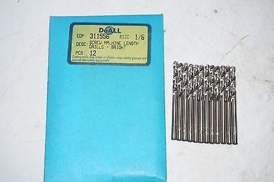 "12 new pcs GREENFIELD 1/8"" Screw Machine Length HSS Twist Drills Bits Bright USA"