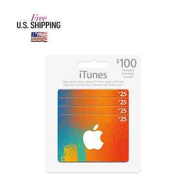 iTunes Cards 4X$25 $100 total value multipack - Canadian iTunes Store only