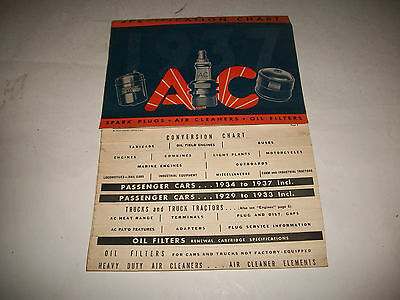 1937 Issue 1929-1937 A/c Spark Plug/ Air Filter/oil Filter Specification Chart