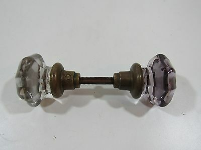 2 Sun purple violet Antique Vintage Glass Crystal Door Knob handle hardware Rare