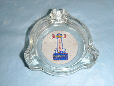 Super Rare old glass Beacon Gasolines gas vintage ashtray lighthouse tray