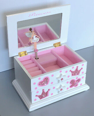 Girls Pink Ballet Dance Wooden Music Jewellery Box Ballerina M02W WHITE 0.5k