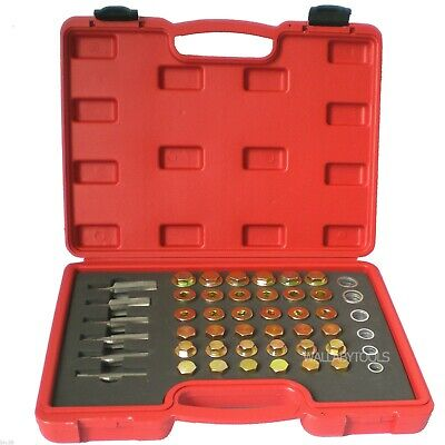 New 114PC Oil Pan Drain Sump Plug Key Thread Repair Tool Kit Set Drain plug