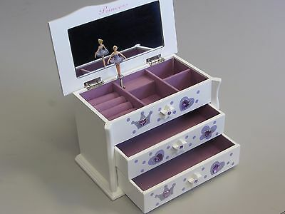 Girls White Ballet Dance Wooden Music Jewellery Box Ballerina M03L Lilac 1.5k