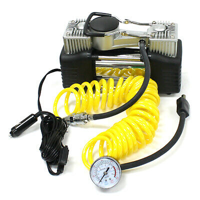 New DC 12V Portable Air Compressor 150 PSI Car Tire Inflator Twin Cylinders