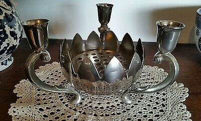 Vintage Leonard Silverplate Lotus Candelabra Flower Float With Frog