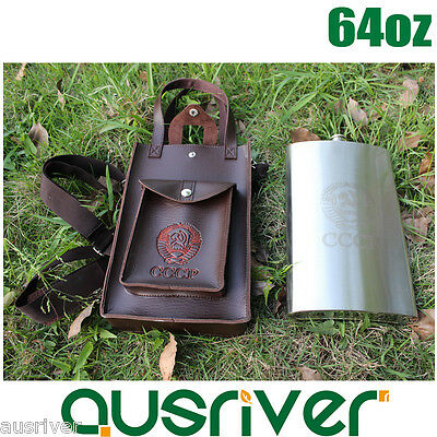 64oz Stainless Steel Hip Flask Liquor Whiskey Alcohol Bottle+Leather Bag Gift