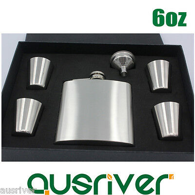 6oz Stainless Steel Hip Flask Liquor Alcohol Bottle 4Cups Funnel Set Gift Box