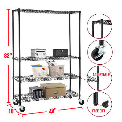 BN Commercial 46''X82''X18''Wire Shelving Rack 4 Tier Adjustable Steel Shelf
