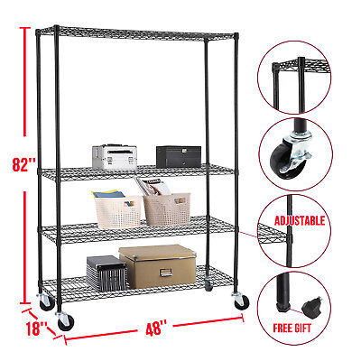 Commercial 48''X82''X18''Wire Shelving Rack 4 Tier Adjustable Steel Shelf