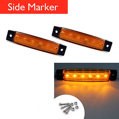 2X 6 LED Bus Van Boat Truck Trailer Side Marker Tail Lights Lamp Yellow/Amber