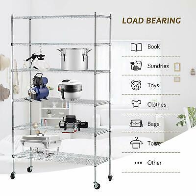 "Adjustable 82""x48""x18"" 6 Tier Wire Shelving Rack Steel Shelf Layer"