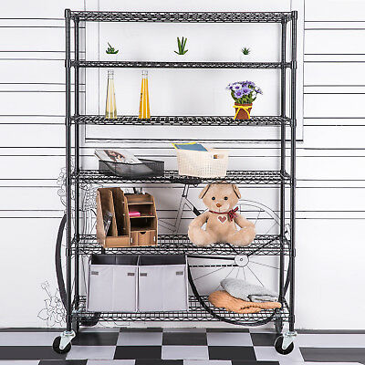 Heavy Duty 6 Tier Wire Shelving Rack Shelf Adjustable Steel Layer48''X82''X18''