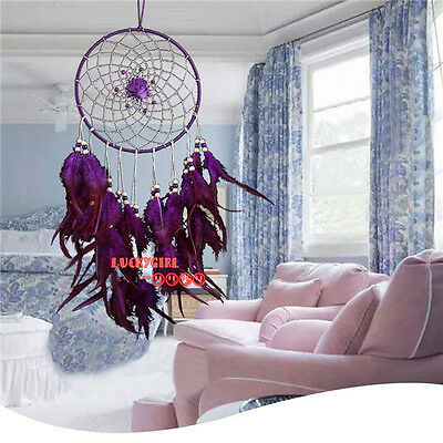 charm purple feathers dream catcher handmade home wall car decorative ornaments