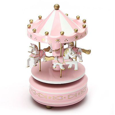Vintage Wooden Merry-Go-Round Carousel Music Box Kids Girls Christmas Gift Pink