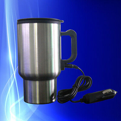 Stainless Steel 12V Car Cup Heater Tea Coffee Water Auto Electric Heater Mug x1