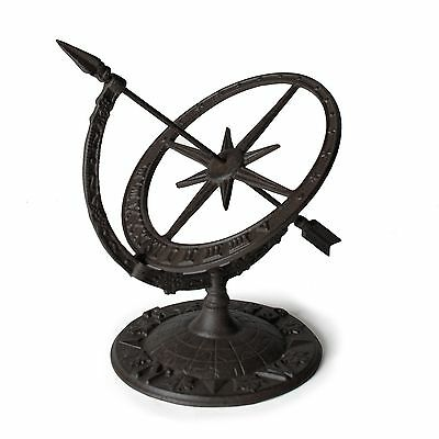 "13"" Dark Brown Cast Iron Armillary Sundial"